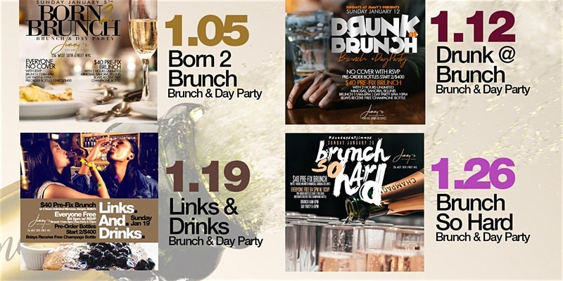 Sunday 2hr Open Bar Brunch & Day Party, Bdays Free, Live Mus...
